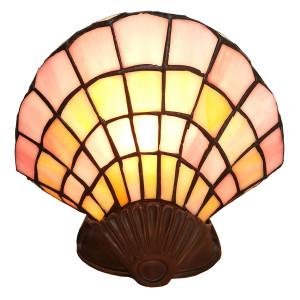 Veioza cu baza din polirasina maro si abajur din sticla Tiffany 25 cm x 20 h