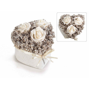 Aranjament cu trandafiri artificiali model inima alb 9 cm x 9 cm x 9 cm H