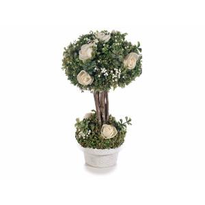 Aranjament cu trandafiri artificiali model bonsai in ghiveci alb verde Ø 11 cm x 19 H
