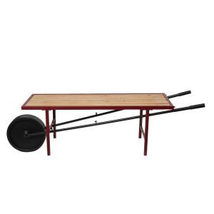 Bancuta din fier rosu negru cu sezut din lemn natur 173 cm x 44 cm x 48 h