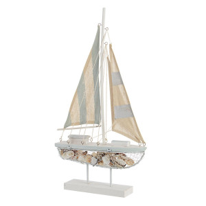 Barca decorativa lemn si textil albastru crem 35 cm x 8.5 cm x 63.5 h