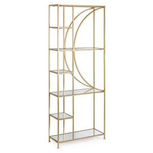 Raft din fier auriu cu 6 polite sticla Elenor 66 cm x 25.5 cm x 176 h