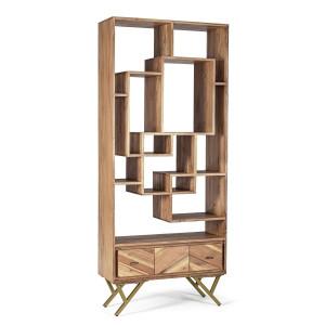 Biblioteca din lemn maro Raida 80 cm x 30 cm x 185 cm