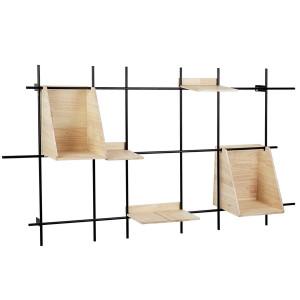 Raft de perete din fier cu 5 polite lemn natur District