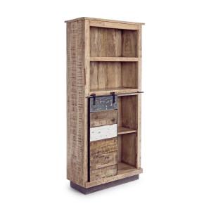 Bibioteca din lemn natur Tudor 71 cm x 34 cm x 163 h