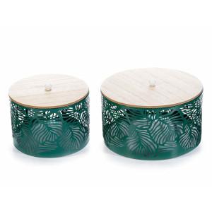 Set 2 boluri decorative din metal verde cu capac lemn natur  Ø 19 cm x 12 h