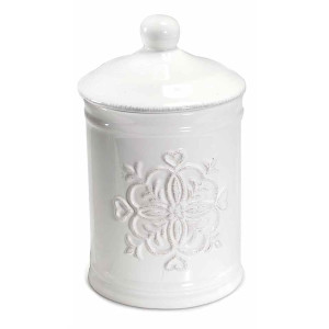 Borcan decorativ din ceramica alba model Floral Ø 11.5 cm x 19 h