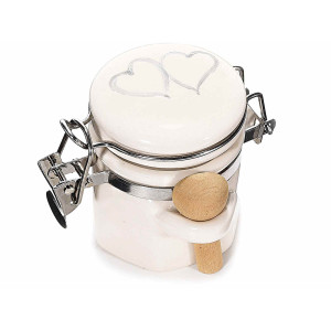 Borcan cu lingurita lemn, alb, 7.5 cm x 6 cm x 6 h