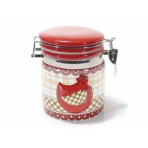 Borcan cu inchidere ermetica din ceramica alb rosu 14.5 cm x 11 cm x 13.5 h