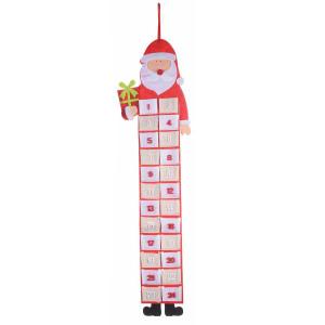 Calendar Advent Mos Craciun suspendabil textil cm 25 x 90 H