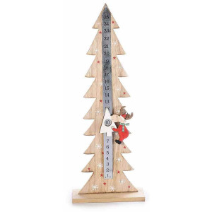 Calendar Advent Craciun din lemn natur rosu model Ren 15 cm x 6 cm x 41 h
