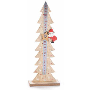 Calendar Advent Craciun din lemn natur rosu model Mos Craciun 15 cm x 6 cm x 41 h