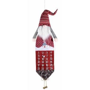 Calendar Advent Craciun suspendabil din textil alb rosu model Mos Craciun 29 cm x 110 h