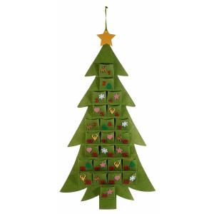 Calendar Advent Craciun suspendabil din textil verde model Brad 50 cm x 93 h
