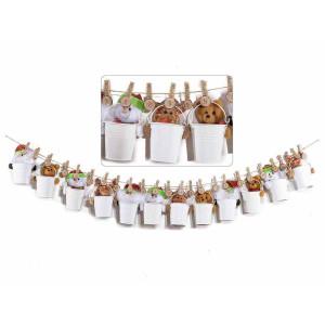 Calendar Advent Craciun din metal alb si textil model Jucarii 126 cm x 15 h
