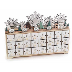 Calendar Advent Craciun din lemn alb natur verde cu leduri 30 cm x 7 cm x 21.5 h