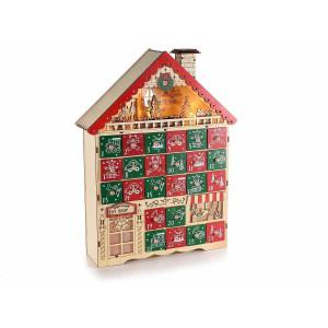 Calendar Advent Craciun din lemn rosu natur verde cu leduri model Casuta 30 cm x 9 cm x 39.5 h