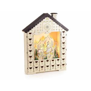 Calendar Advent Craciun din lemn natur alb cu leduri model Casuta 35 cm x 8 cm x 45 h