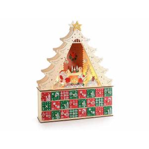 Calendar Advent Craciun din lemn rosu natur verde cu leduri 35 cm x 9.5 cm x 45 h
