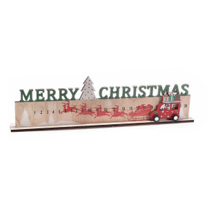 Calendar Advent Craciun din lemn natur rosu verde 46.5 cm x 4 cm x 13.5 h