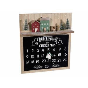 Calendar Advent Craciun suspendabil din lemn si tablita magnetica 28.5 cm x 5 cm x 32.5 h