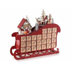 Calendar Advent Craciun din lemn rosu natur alb cu leduri model Sanie 30 cm x 7 cm x 27 h