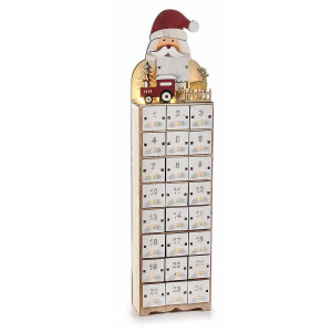 Calendar Advent Craciun din lemn alb natur rosu cu leduri model Mos Craciun 11 cm x 6.5 cm x 45 h