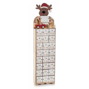 Calendar Advent Craciun din lemn alb natur rosu cu leduri model Ren 11 cm x 6.5 cm x 45 h