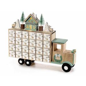Calendar Advent Craciun din lemn verde natur cu leduri model Camion 30 cm x 6.5 cm x 23.5 h