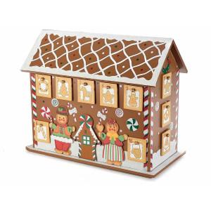 Calendar Advent Craciun din lemn maro rosu model Casuta Turta Dulce 32.5 cm x 16.5 cm x 26.5 h