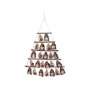 Calendar Advent Craciun suspendabil din lemn si textil model Brad 62 cm x 88 h