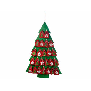 Calendar Advent Craciun suspendabil din textil model Brad 64.5 cm x 96 h