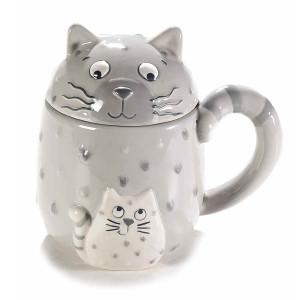 Cana cu capac ceramica gri alba model Pisica Ø 9 cm x 9 H  400 ml