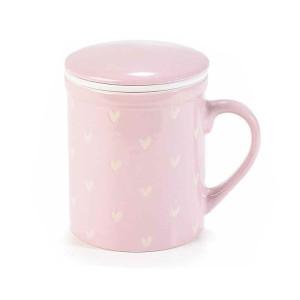 Cana cu capac si infuzor din ceramica roz alb Ø 8 cm x 10,5 h