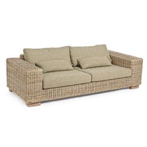 Canapea 4 locuri din rattan natur cu perne bej Leandro 220 cm x 97 cm x 72 h x 39 h1 x 56 h2 x 60 h3