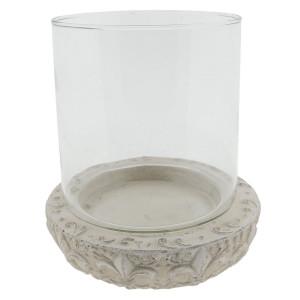 Suport lumanare din ceramica alba si sticla Ø 19 cm x 20 h