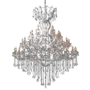 Candelabru din sticla si metal argintiu Ø 170 cm x 200 / 270 h
