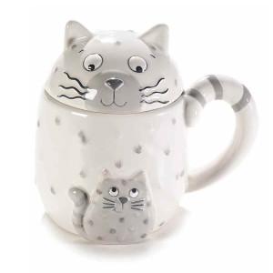 Cana cu capac ceramica alba gri model Pisica Ø 9 cm x 9 H  400 ml