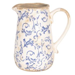 Carafa ceramica alb albastru vintage 17 cm x 12 cm x 18 h / 1 L