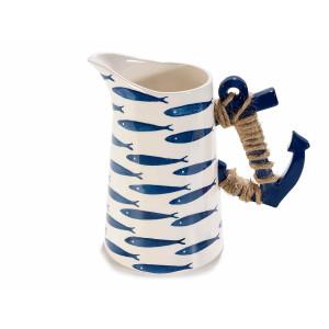 Carafa ceramica alb albastru model Marin cm 22 x 13 cm x 21 H
