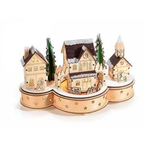 Decoratiune Craciun muzicala cu trenulet rotativ din lemn natur si leduri 30 cm x 14 cm x 16.5 h