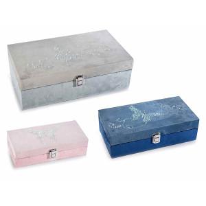 Set 3 casete bijuterii din catifea gri albastra roz 34 cm x 19.5 cm x 11 h
