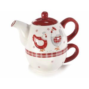 Set ceainic cu ceasca din ceramica alb rosu gri 18 cm x 11,5 cm x 17 h
