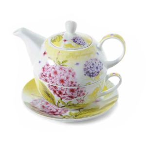 Set ceainic cu ceasca si farfurioara din portelan decor floral roz 16 cm  x 15 cm x 14 h
