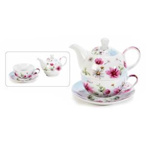 Set ceainic cu ceasca si farfurioara din portelan decor flori roz 16 cm x 10,5 cm x 13,5 h