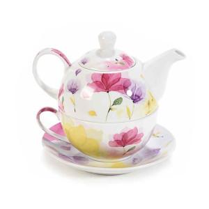 Set ceainic cu ceasca si farfurioara din portelan decor floral roz 16 cm  x 10.5 cm x 13.5 h
