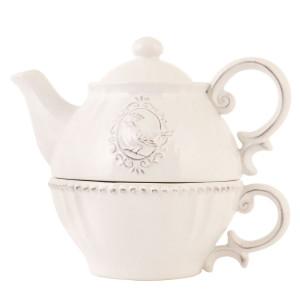 Set ceainic cu ceasca din ceramica crem 18 cm x 12 cm x 16 h / 0.4 L
