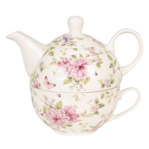 Set ceainic cu ceasca din portelan decor floral roz 16 cm x 10 cm x 14 h / 0.4 L