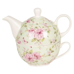 Set ceainic cu ceasca din portelan verde decor floral roz 16 cm x 10 cm x 14 h / 0.4 L