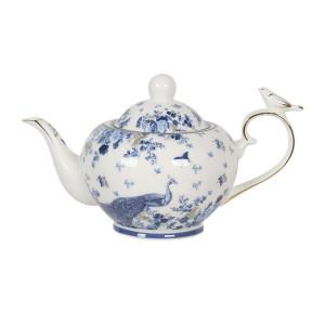 Ceainic din portelan alb albastru 22 cm x 13 cm x 13 h / 0.9 L